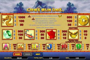 Choy Sun DOA Slot Pay Table